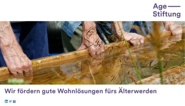 Das Werbelogo der Age Stiftung Schweiz, die sich für gute Wohnlösungen im Alter einsetzt