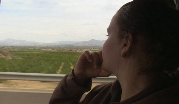 Blick aus dem Auto in die Landschaft